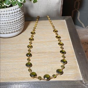 Kate Spade Long Gold Necklace w/ Green Jewels